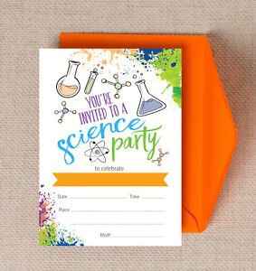 Pack of 10 Science Themed Kids Teen Birthday Party Invitations & Envelopes