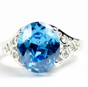 Glacier Blue CZ, 925 Sterling Silver Ladies Ring, SR057-Handmade