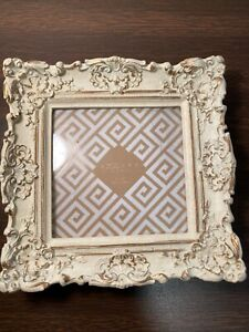 """Vintage Azzure Homes Picture Frame Cream/ Gold Trimmed Square 6"""" Ornate Scroll"""
