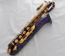 Professional Purple Finish Baritone Saxophone Bari sax Low A High F# With Case