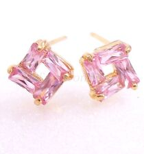 Girl Pink Clear Simulated Diamond Unisex Stud Earrings18K Yellow Gold Plated