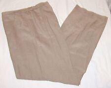 Chicos Design Pants Womens 2 L 12 Silk Linen Blend Light Brown Flat Front