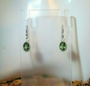 NEW! Sparkling natural Mint Green Apatite 5x7mm sterling silver hook earrings 🌳