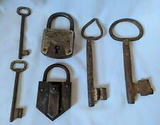 ANCIENT ANTIQUE GERMAN LOCKS TOWER BRAND OLD RARE IRON PADLOCK WITH SOLID KEYS