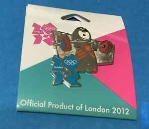 2012 LONDON OLYMPICS MASCOT WENLOCK WEIGHTLIFTING COLLECTOR PIN