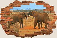 3D Hole in Wall Elephant Safari View Wall Sticker Mural Art Decal Wallpaper S28