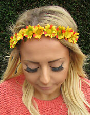 Yellow Red Caribbean Daisy Flower Garland Headband Hair Crown Festival Boho 1948