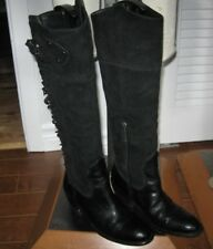 Franco Sarto Artist Collection Duke BLACK Suede Leather Knee High Boots fringe 5