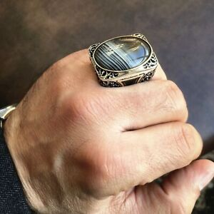 Sterling Silver Big Mens Ring Banded Botswana Agate Unique Statement Jewelry