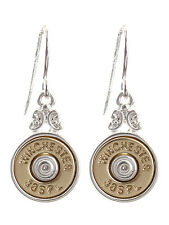 WINCHESTER 38 SPECIAL FAUX BULLET WESTERN JEWELRY GOLD SILVER PLATED EARRINGS