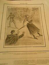 Caricature 1891 - Police des Moeurs attraper au Lasso les délinquantes isolées