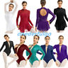 Women Long Sleeves Mesh Ballet Dance Leotard Dress Keyhole Back Gymnastics Tops