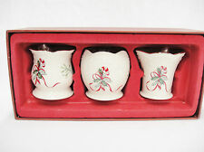 Lenox Christmas Votives Set of 3 Boxed New Candy Canes Ribbon Porcelain