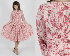 Vintage 50s Pink Floral Dress Pinup Rockabilly Full Skirt Swing Party Midi Mini