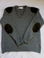 GENUINE VINTAGE WOOL OVERS CLASSIC BRITISH SWEATER SUEDE PATCH SHOULDER/ELBOW