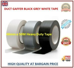 DUCK DUCT GAFFA GAFFER WATERPROOF CLOTH WHITE/BLACK/SILVER TAPE 48MM x 50M