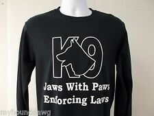 Jaws With Paws Enforcing Laws T-Shirt, K-9 Unit, K9, 2X