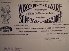 Movie Letterhead Wisconsin Theatre Supply 1921 Cancel The 2 Globes on Back Order