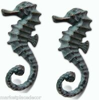 Seahorse Wall Hooks Towel Key Leash Hat Hangers Coastal Nautical Beach ~ Set/2