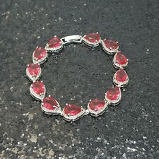 18K White Gold Filled Stylish Italian Pear Cut Spinel Bracelet 18cm