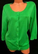 Roz & ali green scoop neck button down women's 3/4 sleeve plus top 3X