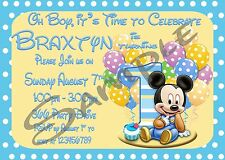 Baby Mickey Mouse 1st Birthday Personalised Digital Invitation - Print At Home