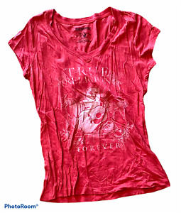 """Woman's TRUE RELIGION Red T-Shirt Top """"Forever"""" Short Sleeve Size Small S P"""
