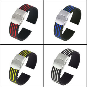 Silicone Watch Strap for Replacement Stripe Folding Safety Buckle 18/20/22/24MM