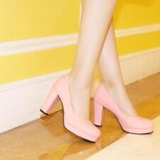 Sweet Womens Mary Janes Round Toe Platform Pumps OL Date High Block Heels Shoes