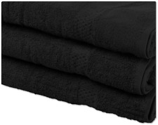 Pack of 3 Bath Sheets Jumbo | 100% Cotton Towels Huge Size 90x170 in Black