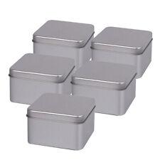 5x Small Square Metal Tin Silver Storage Box Case Home Organizer Jewelry Box