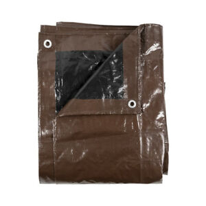 10'X20' Brown/Black Reversible Heavy Duty 8-9 Mil Waterproof Multi-Purpose Tarp