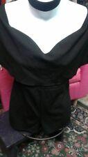 black one piece romper bondage shorts top tops peasant jumpsuite medium m