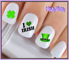 Nail Art #7508 St Patricks Love IrIsh Flag Clover Waterslide Nail Decal Transfer