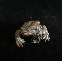 Rare Chinese Old Antique Copper Handwork Toad Collectible fortune figure Statue
