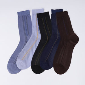 5 Pairs Men Striped Dress Socks Sheer Thin Silky Breathable Summer Business Soft
