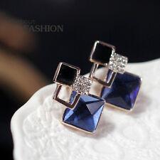 Boucles d`Oreilles Clips Doré Pendant Carré Art Deco Noir Bleu Class Retro J6
