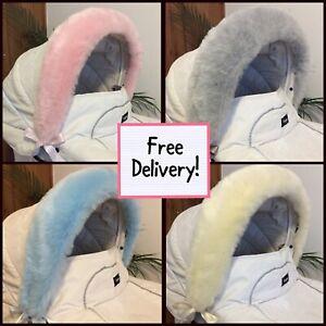Fabulous Fluffy FAUX FUR Pram Hood Trims -Blue -Pink- Grey -With Ribbons- BN