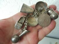 Old Bracelet,925 Silver,Charm Bracelet With 7 Large Beautiful Charms,Mexico,56g