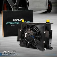 """7"""" Fixed Cooling Fan + 30 Row 10AN Universal Engine Transmission Oil Cooler Kit"""