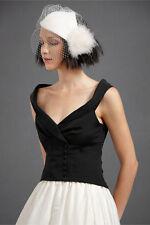 BHLDN Anthropologie OBLIQUELY WAISTCOAT BLACK Formal Top Silk - NWOT Sz 0 $320
