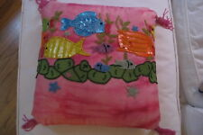 Davenport Home Bead and Sequin and Embroidered Fish pillow cover.