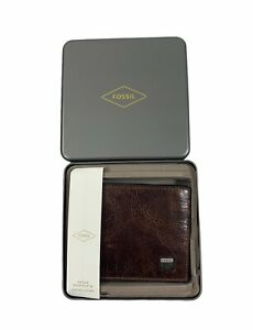 Fossil Men's Brown Bifold with Flip ID Genuine Leather Wallet in Tin