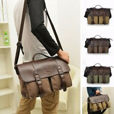 Men Leather Shoulder  Casual Business Canvas Satchel Messenger Travel