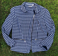 Chicos Womens Large Gingham Moto Jacket Blue White Zip Front Size 2 NWOT