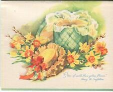VINTAGE GREEN HAT BOX YELLOW ORANGE DAFFODILS POEM PRINT 1 ALPHABET FRIEND CARD