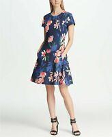 DKNY Sz 6 Short Sleeve Floral Fit & Flare Dress Navy Cap Sleeve