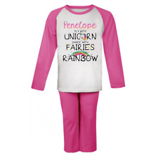 Personalised Unicorn Fairies Rainbow  Pjs Kids Pyjamas Childrens Girls Nightwear