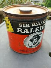 Vintage Sir Walter Raleigh 14 oz. Pipe & Cigarette Tobacco Tin Special Offer B&W