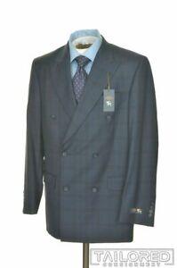 NWT - HART SCHAFFNER MARX Blue Plaid 100% Wool Jacket Pants SUIT Mens - 40 R